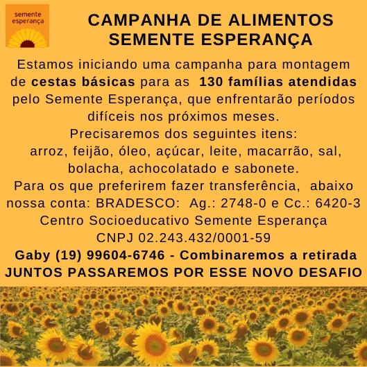 CAMPANHA DE ALIMENTOS SEMENTE ESPERANÇA